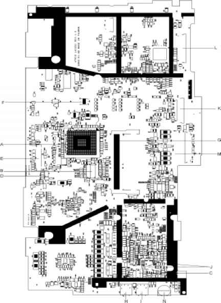board layout top view - acer aspire 1400