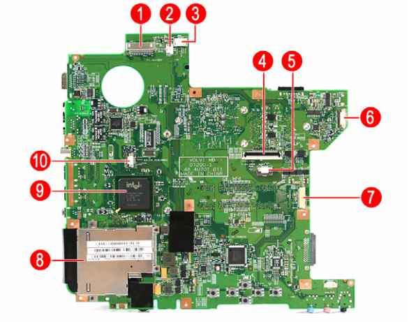 Board Layout  Acer    Aspire    4710 4310  Acer Laptop Repair