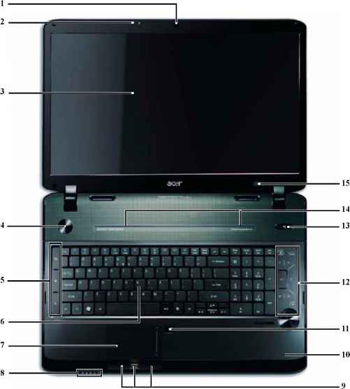 Acer Extensa 5220 Lights Front