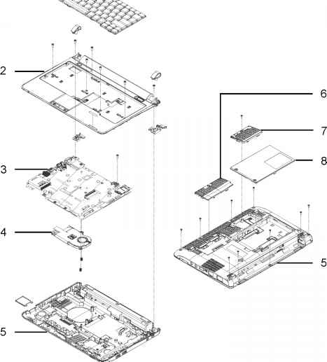 Aspire One Exploded Diagrams Main Assembly