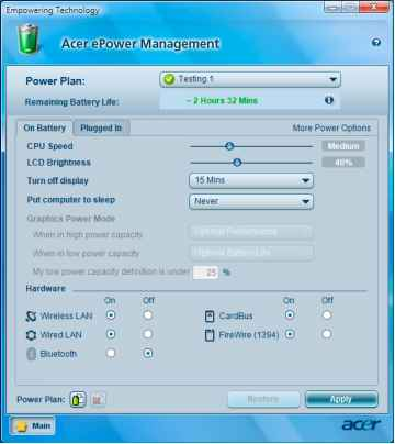 Acer Power Management Utility