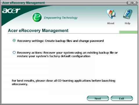 Acer Aspire Management Erecovery