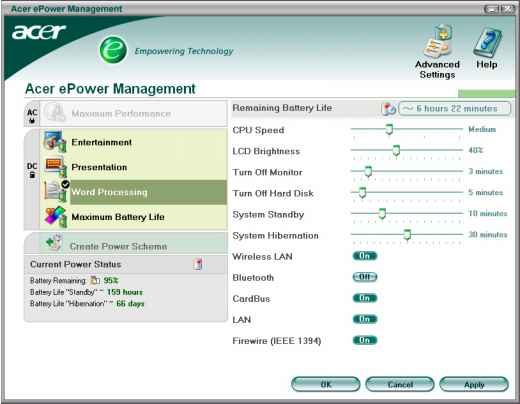 acer epower management