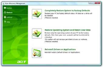 Acer Recovery Screen