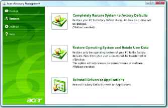 how to restore acer laptop computer to factory settings